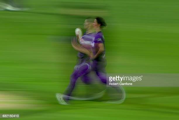 Julie Hunter of the Hurricanes runs into bowl during the Women's Big Bash League match between the Melbourne Stars and the Hobart Hurricanes at...