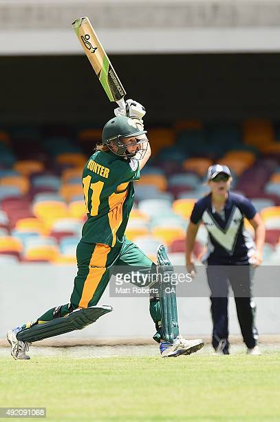 Julie Hunter of the Roar bats during the round one WNCL match between Victoria and Tasmania at Allan Border Field on October 10 2015 in Brisbane...
