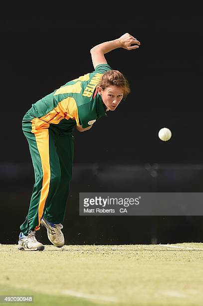 Julie Hunter of the Roar bowls during the round one WNCL match between Victoria and Tasmania at Allan Border Field on October 10 2015 in Brisbane...