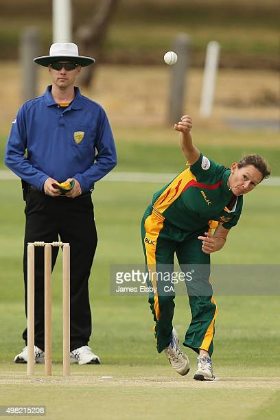 Julie Hunter of the Roar bowls during the WNCL match between South Australia and Tasmania at Railways Oval on November 22 2015 in Adelaide Australia