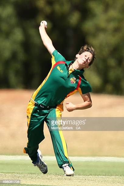 Julie Hunter of the Roar bowls during the WNCL match between Tasmania and Western Australia at Park 25 on November 21 2015 in Adelaide Australia