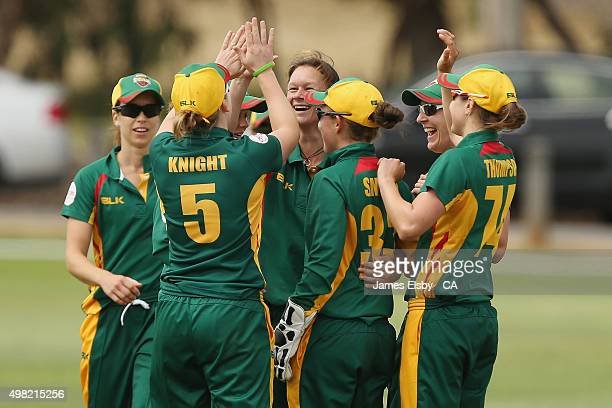 Julie Hunter of the Roar celebrates the wicket of Sarah Taylor of the Scorpions during the WNCL match between South Australia and Tasmania at...
