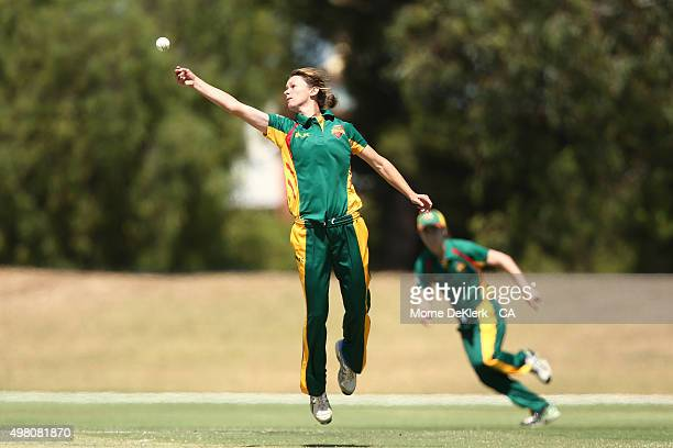 Julie Hunter of the Roar fields the ball during the WNCL match between Tasmania and Western Australia at Park 25 on November 21 2015 in Adelaide...