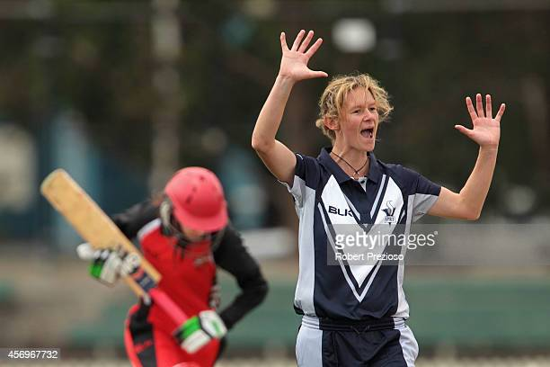 Julie Hunter of the Spirit appeals unsuccessfully during the WT20 match between Victoria and South Australia at Junction Oval on October 10 2014 in...