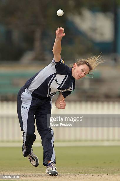 Julie Hunter of the Spirit bowls during the WT20 match between Victoria and South Australia at Junction Oval on October 10 2014 in Melbourne Australia