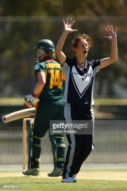 Julie Hunter of Victoria appeals successfully for the wicket of Emma Thompson of Tasmaniaduring a WNCL match between Victoria and Tasmania at...