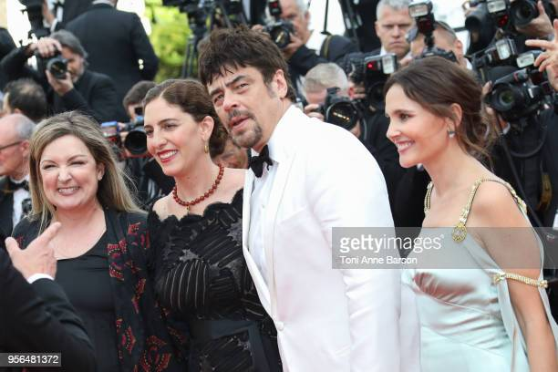 Julie Huntsinger AnneMarie Jacir Virginie Ledoyen Benicio Del Toro attend the screening of Everybody Knows and the opening gala during the 71st...
