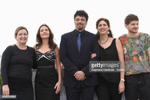 Julie Huntsinger Virginie Ledoyen Benicio Del Toro Annemarie Jacir and Kantemir Balagov attends the photocall for Semaine de la Critique Jury during...