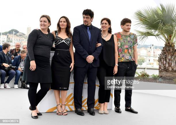 Julie Huntsinger Virginie Ledoyen Benicio Del Toro Annemarie Jacir and Kantemir Balagov attend the Jury Un Certain Regard photocall during the 71st...