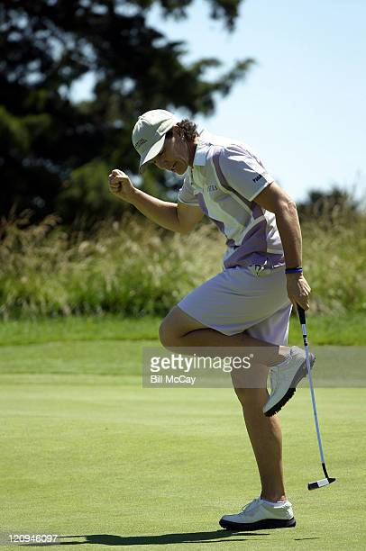 Julie Inkster celebrates a birdie putt She would finish tied for second
