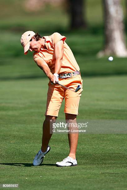 Julie Inkster hits a shot on the 12th hole during the final round of the SemGroup Championship presented by John Q Hammons on May 4 2008 at Cedar...