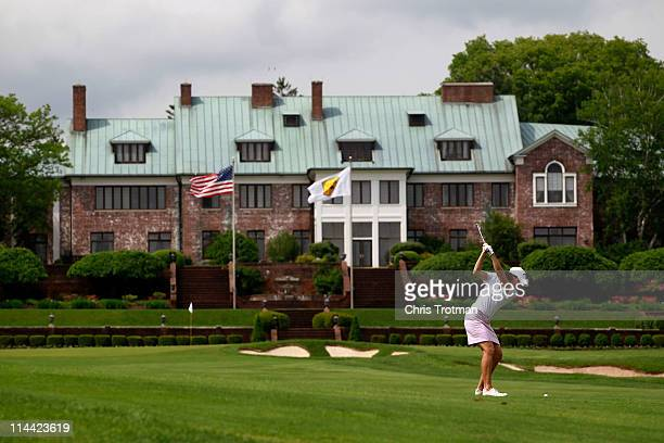 Julie Inkster hits her second shot to the ninth green during round one of the Sybase Match Play Championship at Hamilton Farm Golf Club on May 19...
