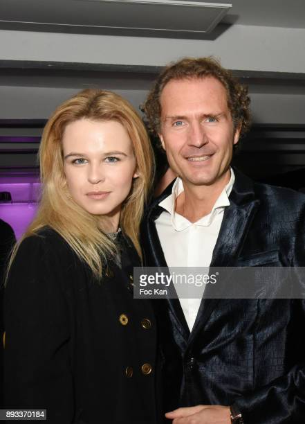 Julie Jardon and Nicolas Mereau attend the Lamborghini Party at Garage Bellini on December 14 2017 in Puteaux France