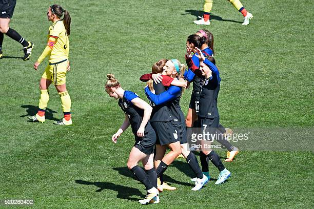 Julie Johnston of the United States celebrates her goal with teammate Tobin Heath against Colombia during the first half at Talen Energy Stadium on...