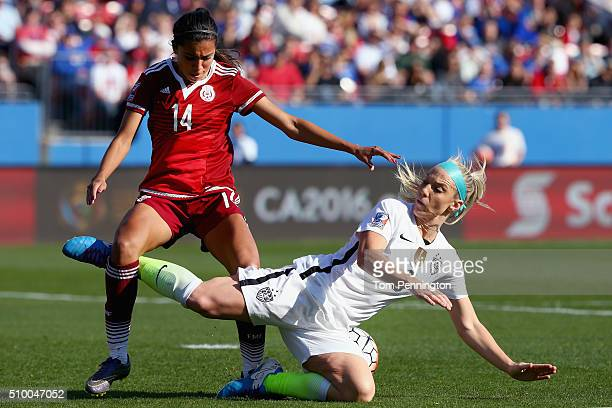 Julie Johnston of USA gets tripped up by Annia Mejia of Mexico in the second half of the United States v Mexico Group A 2016 CONCACAF Women's Olympic...