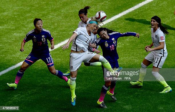 Julie Johnston of USA heads an own goal during the FIFA Women's World Cup 2015 Final between USA and Japan at BC Place Stadium on July 5 2015 in...