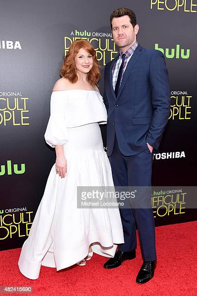 Julie Klausner and comedian Billy Eichner attend the New York Premiere of Difficult People at the School of Visual Arts Theater on July 30 2015 in...