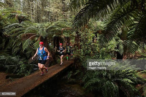 Julie Klein of Wellington New Zealand competes in the marathon run during the Tarawera Trail Run on November 12 2016 in Rotorua New Zealand