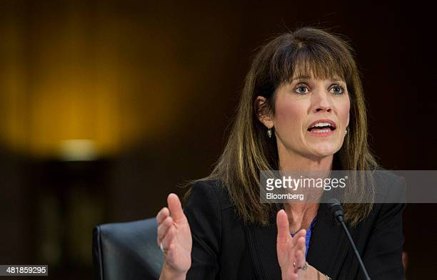 Julie Lagacy vice president of the finance services division at Caterpillar Inc testifies during a Senate Permanent Subcommittee on Investigations...