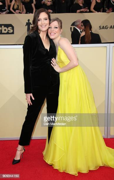 Julie Lake and Emma Myles arrive at the 24th Annual Screen Actors Guild Awards at The Shrine Auditorium on January 21 2018 in Los Angeles California