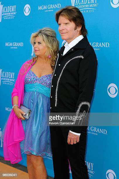 Julie Lebiedzinski and musician John Fogerty arrive at the 45th Annual Academy of Country Music Awards at the MGM Grand Garden Arena on April 18 2010...