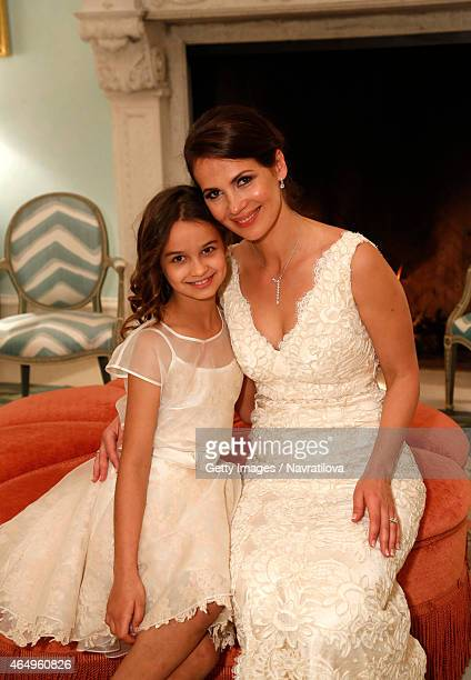 Julie Lemigova and daughter Emma pose at the Martina Navratilova and Julie Lemigova wedding reception on February 14 2015 in Palm Beach