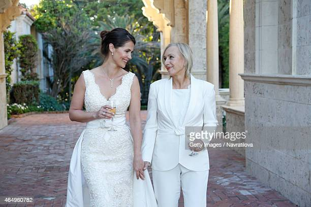 Julie Lemigova and Martina Navratilova attend the Martina Navratilova and Julie Lemigova wedding reception on February 14 2015 in Palm Beach