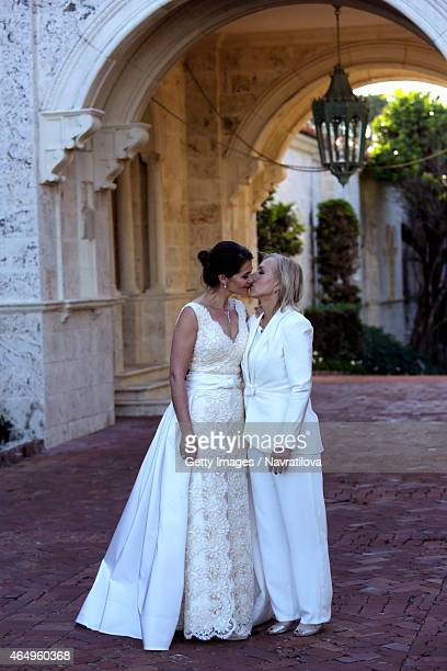 Julie Lemigova and Martina Navratilova pose at the Martina Navratilova and Julie Lemigova wedding reception on February 14 2015 in Palm Beach