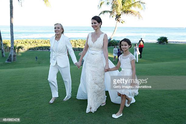 Julie Lemigova Martina Navratilova and daughter Emma attend at the Martina Navratilova and Julie Lemigova wedding reception on February 14 2015 in...
