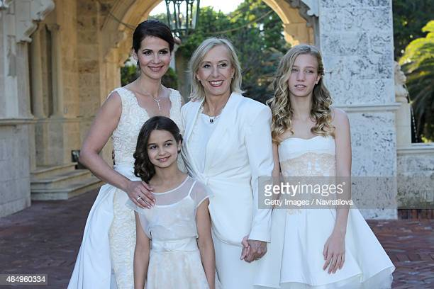 Julie Lemigova Martina Navratilova and daughters Victoria and Emma pose at the Martina Navratilova and Julie Lemigova wedding reception on February...