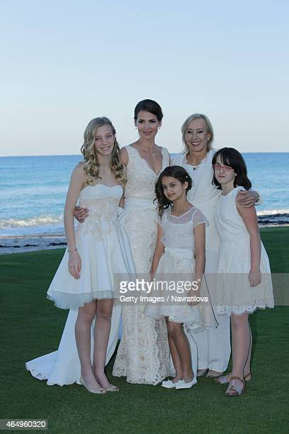 Julie Lemigova Martina Navratilova daughters Victoria and Emma and guest pose at the Martina Navratilova and Julie Lemigova wedding reception on...
