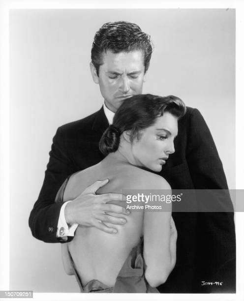 Julie London is comforted by John Drew Barrymore in publicity portrait for the film 'Night Of The Quarter Moon' 1959