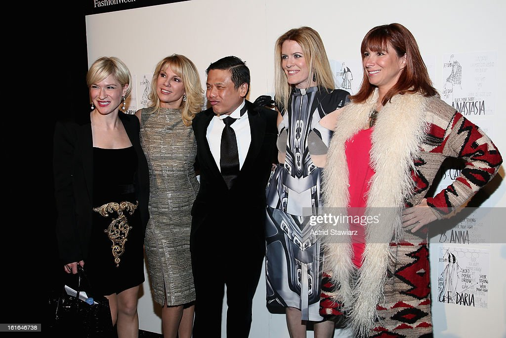 Julie Macklowe, Ramona Singer, designer Zang Toi, Alex McCord and Jill Zarin backstage at the Zang Toi Fall 2013 fashion show during Mercedes-Benz Fashion Week at The Stage at Lincoln Center on February 13, 2013 in New York City.