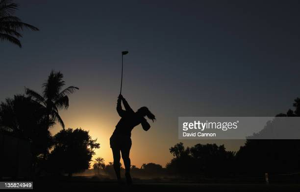 Julie Maisongrosse of France tees off against the early morning sun from the tee on the par 5, 10th hole during the second round of the 2011 Omega...