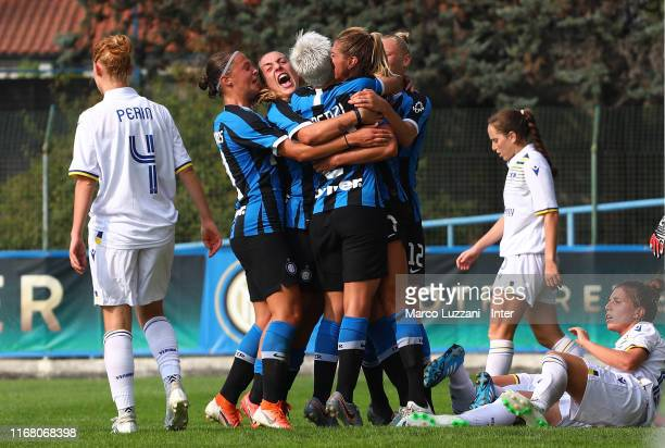 Julie Martine Debever of FC Internazionale celebrates her goal with her teammates during the Women Serie A match between FC Internazionale v Hellas...