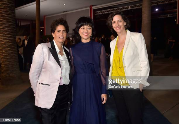 Julie Mehretu Christine Y Kim and Jessica Rankin attend the 2019 LACMA Art Film Gala Presented By Gucci at LACMA on November 02 2019 in Los Angeles...
