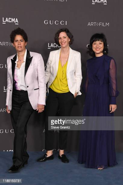Julie Mehretu Jessica Rankin and Christine Y Kim attend the 2019 LACMA Art Film Gala Presented By Gucci at LACMA on November 02 2019 in Los Angeles...