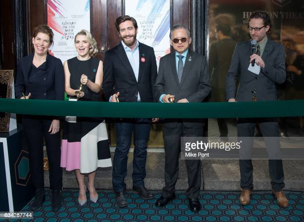 Julie Menin Annaleigh Ashford Jake Gyllenhaal Kwek Leng Beng and Eric Paris attend the Hudson Theatre ReOpening Ribbon Cutting at Hudson Theatre on...