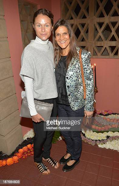 Julie Mills and Aileen Getty attend the Sabine G Jewelry Dinner at Balthazar and Rosetta Getty's home on November 8 2013 in Los Angeles California