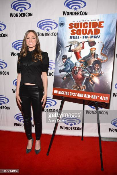 Julie Nathanson attends the Suicide Squad Hell To Pay press conference at WonderCon 2018 Day 1 at Anaheim Convention Center on March 23 2018 in...