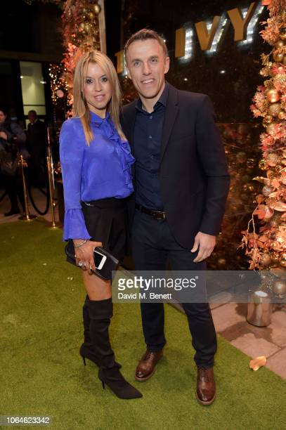 Julie Neville and Phil Neville attend The Ivy Spinningfields VIP Launch Party on November 23 2018 in Manchester England