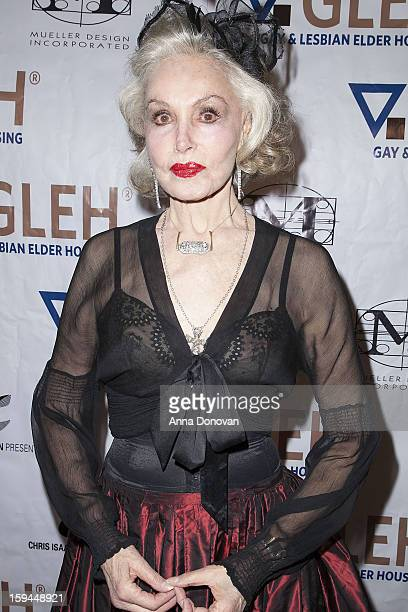 Julie Newmar attends the GLEH Golden Globes Viewing Gala Honoring Julie Newmar held at the Jim Henson Studios on January 13 2013 in Hollywood...