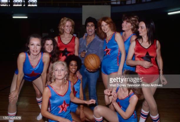 Julie Newmar Erik Estrada Tina Louise Ann Meyers Barbara Steele Camilla Sparv Jadie David Deanna Mollner appearing in coverage of charity basketball...