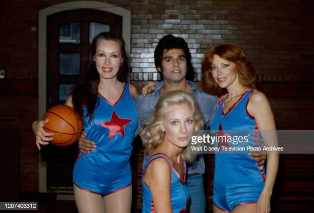 Julie Newmar Erik Estrada Tina Louise Camilla Sparv appearing in coverage of charity basketball game held at Madison Square Garden on the ABC tv...