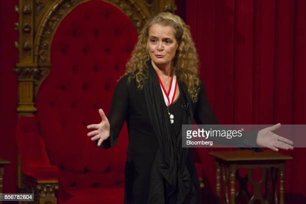 Julie Payette, governor general of Canada, speaks after being sworn in during an installation ceremony in the Senate Chamber of Parliament Hill in...