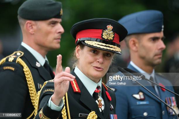 Julie Payette, Governor General of Canada, speaks at a commemorative ceremony to honor Canadian veterans and fallen soldiers of the World War II...