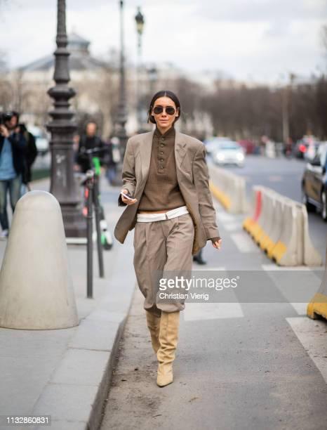 Julie Pelipas is seen wearing brown blazer and pants outside Paco Rabanne during Paris Fashion Week Womenswear Fall/Winter 2019/2020 on February 28...