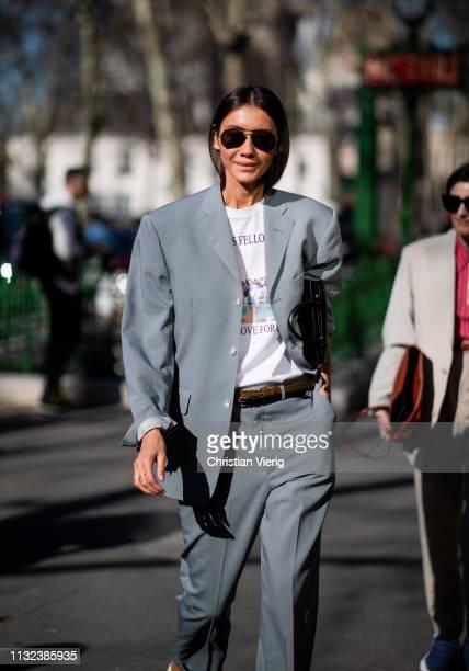 Julie Pelipas is seen wearing grey suit outside Dior during Paris Fashion Week Womenswear Fall/Winter 2019/2020 on February 26 2019 in Paris France