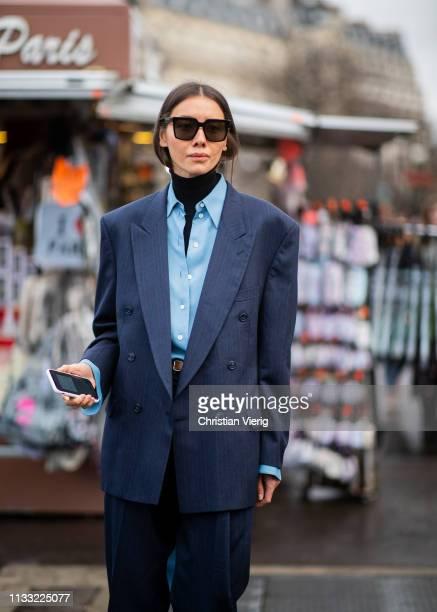 Julie Pelipas is seen wearing navy suit outside Haider Ackermann during Paris Fashion Week Womenswear Fall/Winter 2019/2020 on March 02 2019 in Paris...