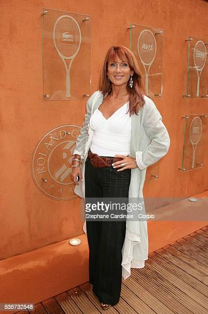 Julie Pietri visits Roland Garros Village during the 2005 French Open tennis